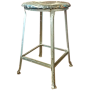 Industrial Metal Stool Thick Chippy Crazy Multi Color Paint
