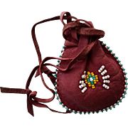 Pouch Purse Medicine Bag Tobacco Pouch Beaded Leather Native American Bag for Child Purse Coin
