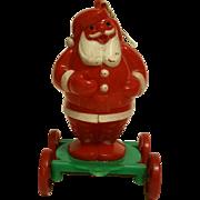 SALE Rosbro Rosen Plastics Santa Clause on Wheels 1950s Wheeled Cart Christmas Tree Ornament P