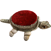 Florenza Turtle Pincushion Nodder Head and Tail Antiqued White Finish with Red Velvet Pin Cush