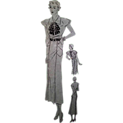 Advance 1182 Day Frock Dress Pattern Bust 32 Hip 35 1930s