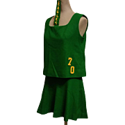 Cheerleader Uniform Outfit Green Wool with Gold Eagles 1970 Cheerleading Costume
