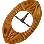 SALE Carved Butterscotch Bakelite Belt Buckle