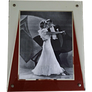 Vintage Art Deco Reverse Painted Photo Frame for 8 x 10 Picture Cream Rust Silver ...
