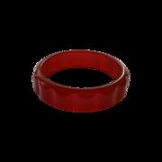 SALE Bakelite Daisy Bracelet Cherry Red Semi-Translucent Scallop Gear