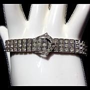 SALE Diamonbar 3 Row Sterling Buckle Clasp Link Bracelet