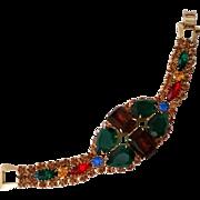 SALE Big Bold Rhinestone Bracelet Looks Unworn Lg Multi Color Pear and Emerald Cuts
