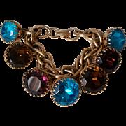 SALE Chunky Cha Cha Charm Bracelet Huge Jeweltone Glass Chaton Rhinestone Charms