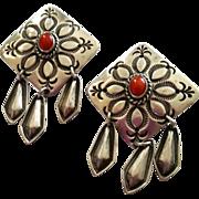 SALE Navajo Coral Sterling Dangle Post Earrings Pineapple Stampings