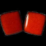 SALE Brondsted Denmark Glazed Pottery Earrings 1960s Red Orange