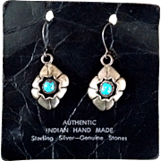 SALE Shadowbox Sterling Silver Turquoise NA Pierced ERs Marked MMM