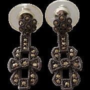 SALE Judith Jack Sterling Marcasite Post Dangle Earrings on Original Card