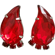 Ruby Red Paisley Shaped Clip on Earrings Silver Tone Prong Set Stones