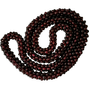 SALE Garnet Rope Necklace 28 Inches Woven No Clasp