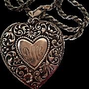 SALE Art Nouveau Revival Heart Pendant on 24 inch Rope Chain
