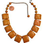 Vintage Butterscotch Bakelite Bib Style Necklace