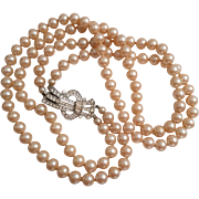 SALE 2 Strand Vintage Faux Pearl Necklace with Art Deco Pave Rhinestone Clasp