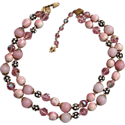 SALE Pink Vendome 2 Strand Necklace Vintage Pink Faceted Crystals & Rhinestone Beads