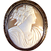 SALE Large Shell Cameo Chased Silver Metal Frame Nice Carving
