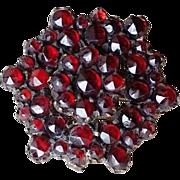 Victorian Rose Cut Bohemian Garnet Pin Hexagon 2 Layer Locking Clasp