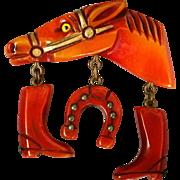 SALE Best Bakelite Horse Head Equestrian Pin Resin Washed Metal Stud Trimmed Dangles