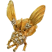 Vintage Unsigned Trembler Fly Pin Tremblant Wings Gold Tone Clear RSs Often Seen Signed ...