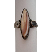 Ladies Ring Southwest Style Pink MOP Mother of Pearl Sterling Size 6