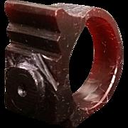 Carved Deco Style Finger Ring Deep Burgundy Vintage Geometric Carvings Hard Plastic