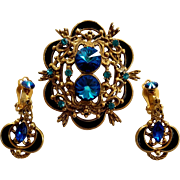 SALE Blue Rivoli Pin Clip On Dangle Earrings Set Cold Enamel Crescent Accents