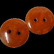 Bakelite Button 2 Inch Diameter Marbled Orange Marmalade Sew Thru with Big Holes