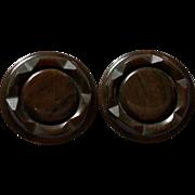 Pair of Deep Carved Brown Marbled Bakelite Coat Buttons 1 5/8 Inch diameter Metal Shank