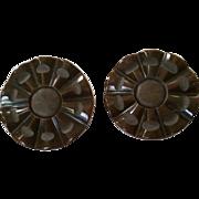 SALE Pair 1 5/8 Inch Bakelite Buttons Embedded Loop Shank Marbled Dark Brown Some Matte Carvin