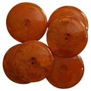 Set of 6 Large Orange Marmalade Bakelite Catalin Buttons Marbled Sew Thru 2 Hole
