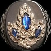 Vintage Bakelite Jeweled Carved Button Black Sapphire Blue Marquis Rhinestones Silvertone Moun