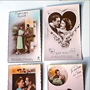 SALE Romantic French Post Cards, Military Men