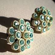 SALE Sparkling Blue Rhinestone and Plastic Earrings