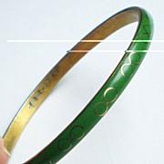 Green and Brass Cloisonne Bracelet