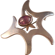 Sterling Silver Abstract Brooch/Pendant, Taxco Signed