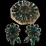 Emerald Green Rhinestone Brooch & Earrings