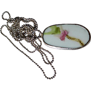 Vintage Cherry Blossom China Shard on Long Sterling Chain