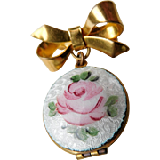 Guilloche Rose Lapel Pin/Brooch Locket