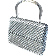 Rare Whiting and Davis 1960s – '70s Mesh Handbag w/ Lucite Handle, Tags