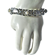 Heavy Link Bracelet with Simulated Pearls