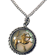 Sterling & Abalone/MOP Sagittarius Pendant/Charm on Long Chain