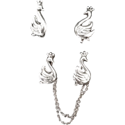 Lang Sterling Swan Chatelaine/Scatter Pins, Earrings and Bonus Charm