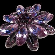 Dusty Pink and Purple Rhinestone Flower Brooch