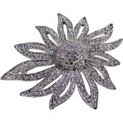 Large Stylized Flower Diamante Brooch, Signed