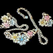 REDUCED Corocraft Coro Necklace Earrings Rhinestone Set