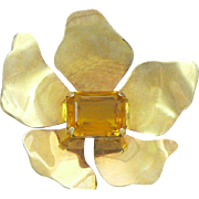 Coro Sterling Silver Gold Vermeil Flower Brooch with Golden Citrine Glass Retro 1940s