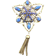Robert Victorian Reivval Pendant Brooch Faux Lapis and Pearl with Tassel